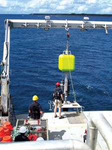 The Falkor crew launches the brand new full ocean depth lander off the aft deck Falkor.